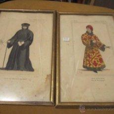 Arte: PAREJA DE LAMINAS ENMARCADAS ANTIGUAS FIGURAS SIGLO XV MEDIDA 26 X 17 CM.. Lote 49855635