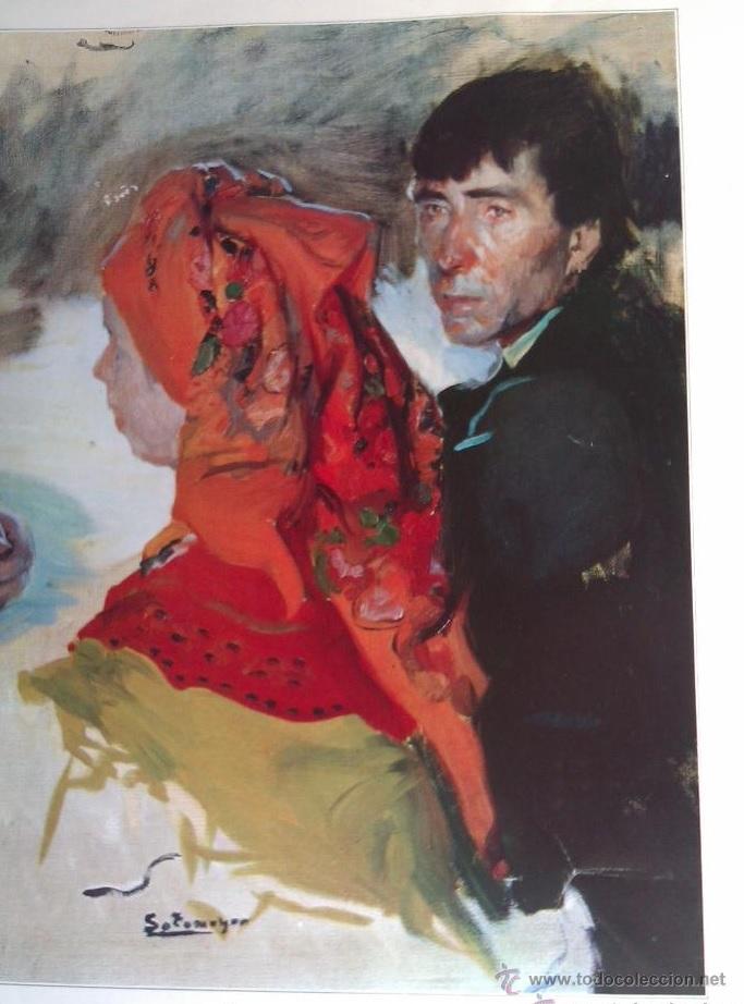 PRECIOSA ANTIGUA LAMINA O SERIGRAFIA DE SOTOMAYOR COMIDA DE BODA EN BERGANTIÑOS (GALICIA) 1916 (Arte - Láminas Antiguas)