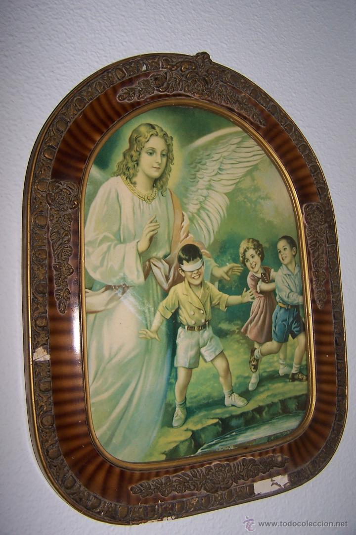 preciosa lámina de ángel de la guarda en marco - Comprar Láminas ...