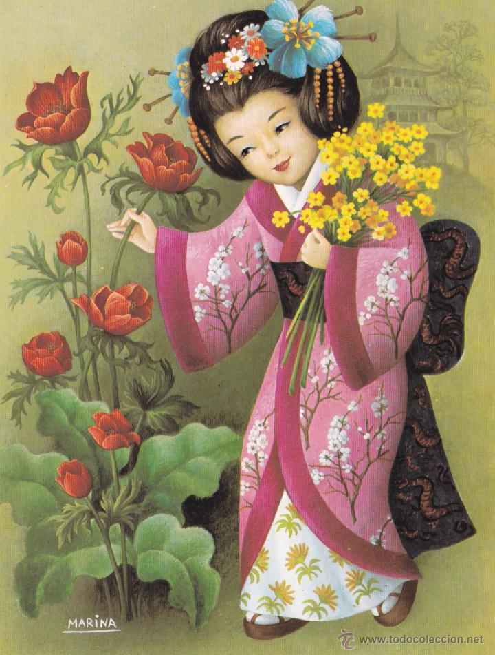 Lamina para enmarcar geisha rosa marina l comprar l minas antiguas en todocoleccion - Laminas infantiles para cuadros ...