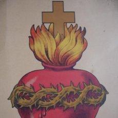 Arte: EL SAGRADO CORAZON FLAMEANDO 25X32.5. SOBRE AÑOS 20-30. Lote 50619633