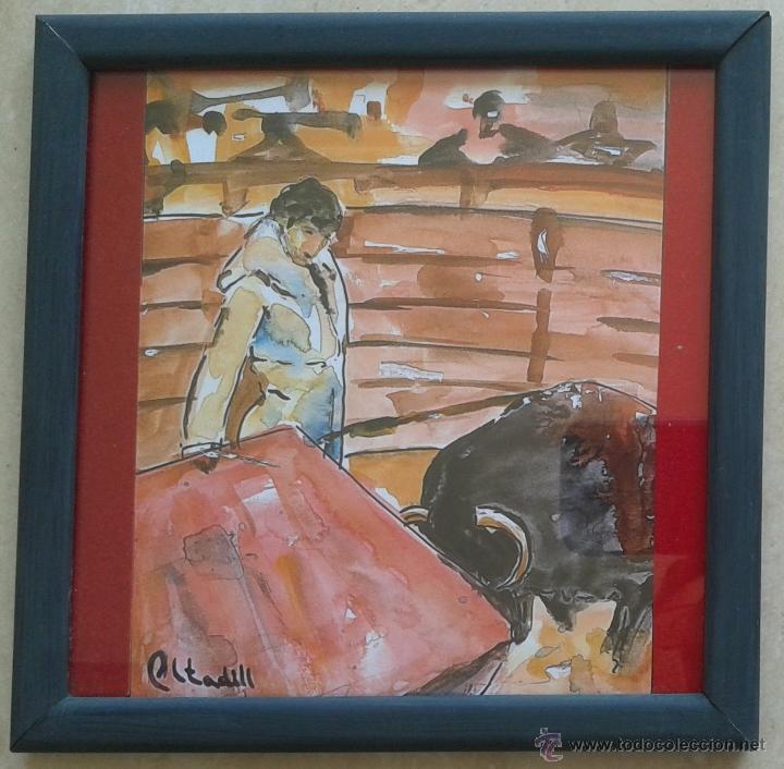 LAMINA TOREO REPRODUCCION ACUARELA - ENMARCADA 17 X 17 (Arte - Láminas Antiguas)