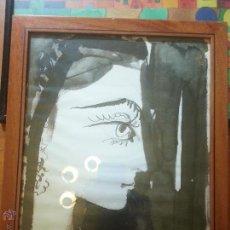 Arte: PICASSO JACQUELINE - ENMARCADA 39 X 31 CM APROXIMADO, CRISTAL ...MARCO MADERA . Lote 51537846