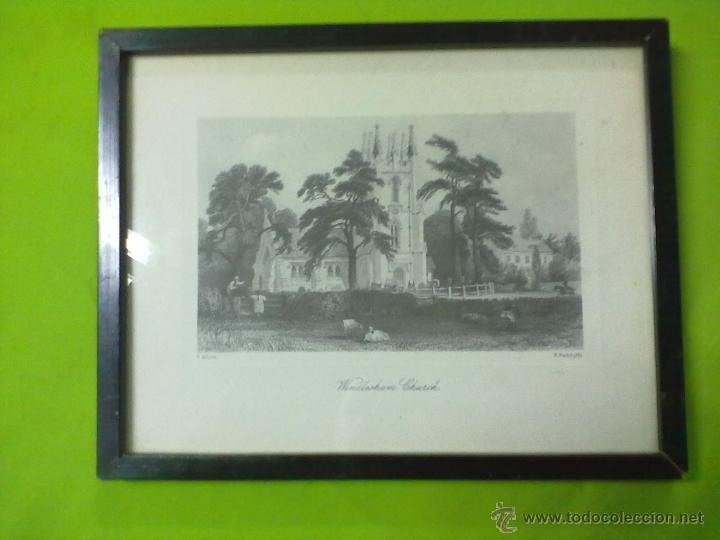 WINDLESHAM CHURCH LAMINA ENMARCADA CON CRISTAL E. RADALYFFE (Arte - Láminas Antiguas)