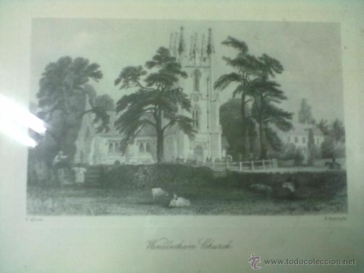 Arte: WINDLESHAM CHURCH LAMINA ENMARCADA CON CRISTAL E. RADALYFFE - Foto 2 - 51580413