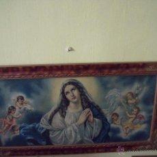 Arte: INMACULADA.-LAMINA ENMARCADA DE VIRGEN CON ANGELITOS.-LAMINA RELIGIOSA DE FINALES DEL SIGLO XIX.. Lote 52612766