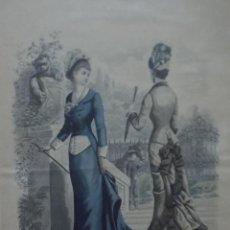 Arte: BONITA LÁMINA DE GRABADO REVISTA MODA S. XIX JOURNAL ILLUSTRÉ DES DAMES PARIS. ENMARCADA.. Lote 52673447