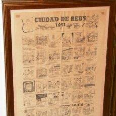 Arte: GRAN CARTEL ANTIGUO DE REUS CON VIÑETAS DE PUBLICIDAD 1951, MEDIDAS 73 X 53 UNA PRECIOSIDAD.... Lote 52676063