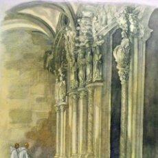 Arte: ANTIGUA LAMINA LITOGRAFIADA, SANTIAGO DE COMPOSTELA, C. S. TEJADA, 26 X 32 CM. DE ALMANAQUE,1950S. Lote 52876925