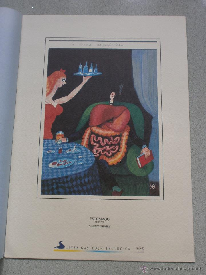LAMINA ANTIGUA EL ESTOMAGO VISTO POR CHUMY CHUMEZ DE LABORATORIOS ALONGA DE 1965 (Arte - Láminas Antiguas)