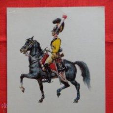 Arte: LAMINA CARTULINA REINO DE DINAMARCA 1828, GARDE DU CORPS A CHEVAL, TROQUELADA EN RELIEVE. Lote 53997164