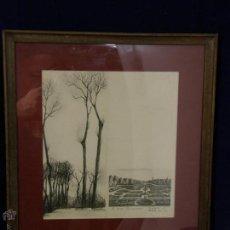 Arte: M. VEXIAN 63 IMPRESIÓN CARTULINA ENMARCADA PARIS PARQUE JARDÍN FRANCÉS AÑOS 40 31X29CMS. Lote 54810404