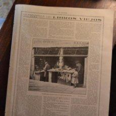 Arte: LIBROS VIEJOS EDUARDO ZAMACOIS FOTO PUESTO LIBREROS CALLE SAN BERNARDO MADRID LA ESFERA 1916. Lote 55012501