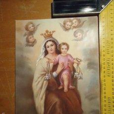 Arte: ANTIGUA LAMINA ACARTONADA RELIGIOSA VIRGEN DEL CARMEN 1983. Lote 55223615
