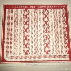 Arte: 1884 - BRODERIE - RARO GRABADO - MODELO DE BORDADO - DEL JOURNAL DES DEMOISELLES - 19 X 21,5. Lote 56368829