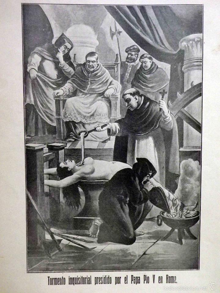 LAMINA, RECUERDOS DE LA INQUISICIÓN, TORMENTO INQUISITORIAL, PRESIDIDO POR EL PAPA PIO V EN ROMA (Arte - Láminas Antiguas)