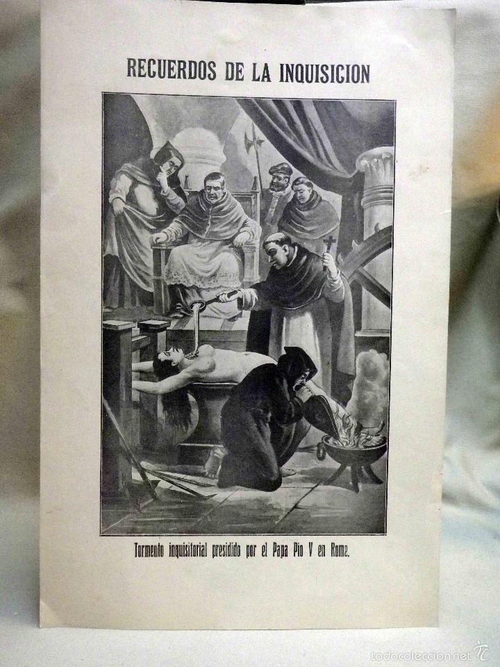 Arte: LAMINA, RECUERDOS DE LA INQUISICIÓN, TORMENTO INQUISITORIAL, PRESIDIDO POR EL PAPA PIO V EN ROMA - Foto 2 - 56542019