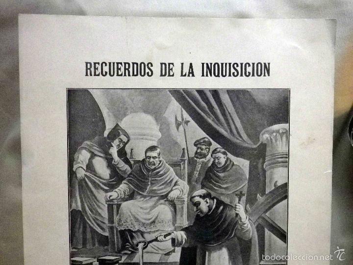 Arte: LAMINA, RECUERDOS DE LA INQUISICIÓN, TORMENTO INQUISITORIAL, PRESIDIDO POR EL PAPA PIO V EN ROMA - Foto 3 - 56542019