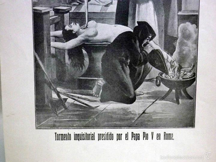 Arte: LAMINA, RECUERDOS DE LA INQUISICIÓN, TORMENTO INQUISITORIAL, PRESIDIDO POR EL PAPA PIO V EN ROMA - Foto 4 - 56542019