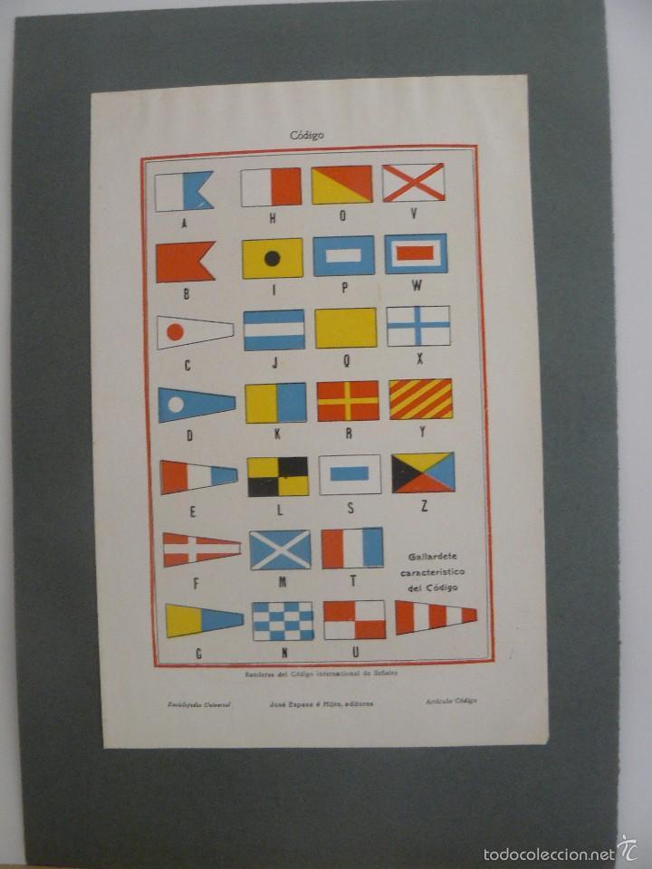 ANTIGUA LÁMINA - BANDERAS DEL CODIGO INTERNACIONAL DE SEÑALES - ENCICLOPEDIA UNIVERSAL ESPASA 1935 (Arte - Láminas Antiguas)