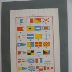 Arte: ANTIGUA LÁMINA - BANDERAS DEL CODIGO INTERNACIONAL DE SEÑALES - ENCICLOPEDIA UNIVERSAL ESPASA 1935. Lote 57252348