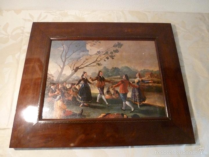 LAMINA CON MARCO DE CAOBA (Arte - Láminas Antiguas)