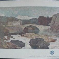 Arte: LITOGRAFIA - GRETA BRIDGE - YORKSHIRE - ACUARELA DE J.S.COTMAN. Lote 57253347