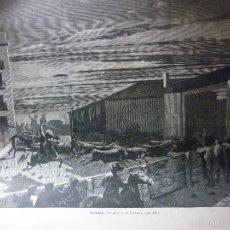 Arte: AÑO 1872. A DOBLE PAGINA 52 X 37 CM. MADRID EL ENCIERRO DE LOS TOROS.. Lote 57339646
