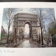 Arte: PARIS - ARC DE TRIOMPHE AVEC TOUR EIFFEL - GORGES B. - LAMINA - MEDIDAS 44,5 X 36,5. Lote 57473363