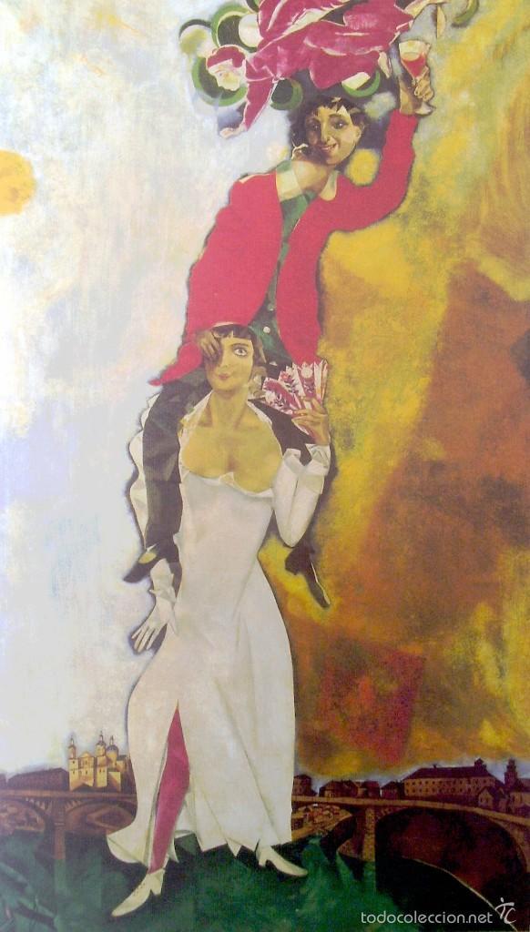 MARC CHAGALL - DOBLE RETRATO CON VASO DE VINO (1917) - LAMINA - MEDIDAS 34 X 43 (Arte - Láminas Antiguas)