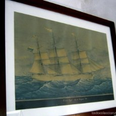 Arte: VELERO PRIMUS BARCELONA 1879 - GRAN LAMINA ENMARCADA 73,5 CM. Lote 57839065