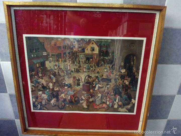 LAMINA ENMARCADA BRUEGHEL - CARNAVAL - NEW YORK GRAPHIC SOCIETY (Arte - Láminas Antiguas)