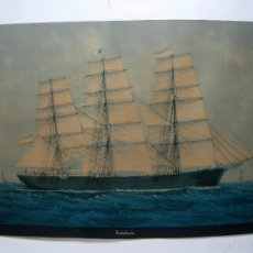 Arte: GRAN LAMINA ANTIGUA PINEDA - BARCO VELERO CATALUÑA S.XIX. Lote 58015607