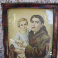 Arte: CUADRO RELIGIOSO SAN ANTONIO DE PADUA Y EL NIÑO JESUS 26CM X 19 CM. Lote 59654911