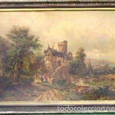 Arte: 1900/20 BELLA LAMINA ENMARCADA CUADRO PALACIEGO - 84 CM !!!. Lote 59997119