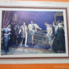 Arte: LAMINA - ENTEVISTA CARLOS V Y FRANCISCO I EN AGUAS MUERTAS. Lote 60293347
