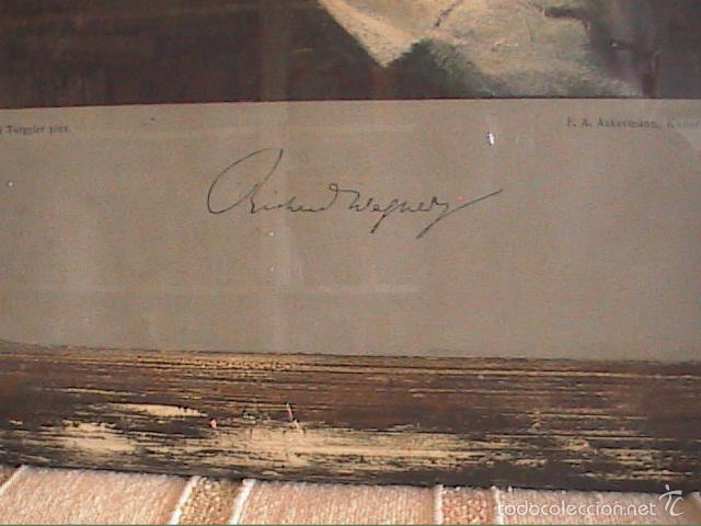 Arte: LAMINA ANTIGUA DE 1930. RETRATO DE RICHARD WAGNER POR TORGGLER.1902. MARCO DE ÉPOCA. - Foto 2 - 60996463