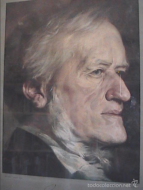 Arte: LAMINA ANTIGUA DE 1930. RETRATO DE RICHARD WAGNER POR TORGGLER.1902. MARCO DE ÉPOCA. - Foto 5 - 60996463
