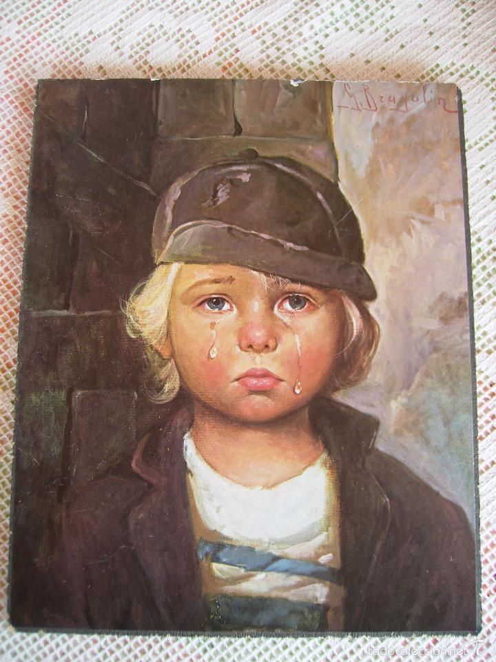 **PRECIOSA LAMINA SOBRE MADERA, ---NIÑOS LLORANDO (G.BRAGOLIN)----(30 X 24 CM)** (Arte - Láminas Antiguas)