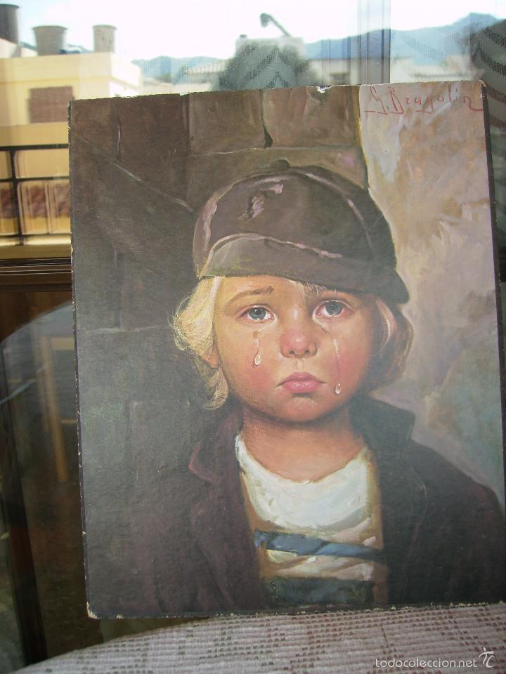 Arte: **PRECIOSA LAMINA SOBRE MADERA, ---NIÑOS LLORANDO (G.BRAGOLIN)----(30 x 24 cm)** - Foto 2 - 61614332