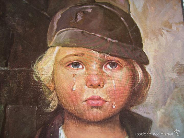 Arte: **PRECIOSA LAMINA SOBRE MADERA, ---NIÑOS LLORANDO (G.BRAGOLIN)----(30 x 24 cm)** - Foto 3 - 61614332