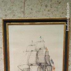 Arte: LAMINA DE ACUARELA NAVIO REAL CARLOS. COLECCION MUSEO NAVAL DE MADRID. ENMARCADO. Lote 63034832
