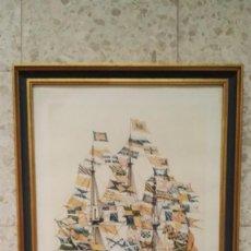 Arte: LAMINA DE ACUARELA NAVIO DE 50 CAÑONES. COLECCION MUSEO NAVAL DE MADRID. ENMARCADO. Lote 63035412
