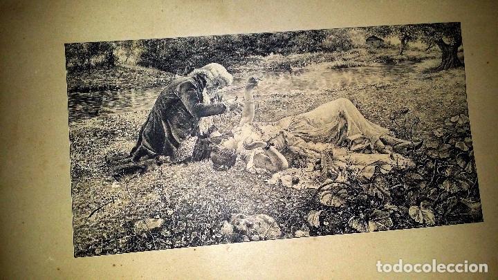 LÁMINA MUJER TENDIDA EN JARDÍN (Arte - Láminas Antiguas)