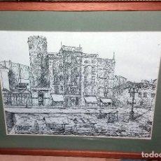 Arte: LAMINA ENMARCADA Y ACRISTALADA PLAÇA MAJOR TERRASSA EN 1904. 35X28CM. . Lote 69305145