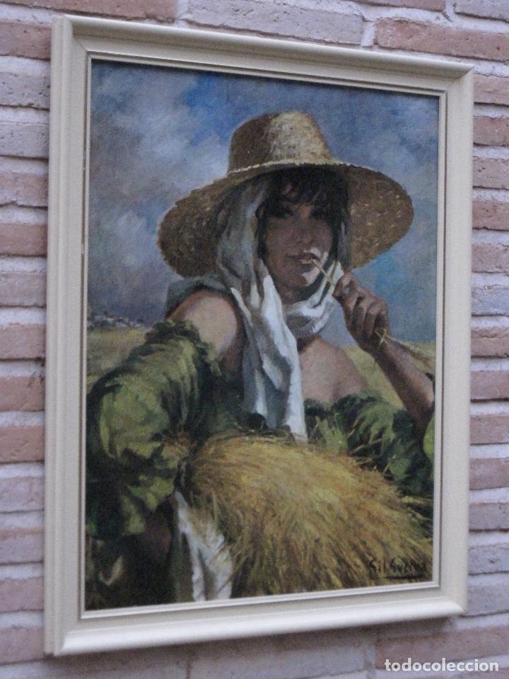 CUADRO CON LAMINA CROMOLITOGRAFIADA EN CARTONCILLO BARNIZADO. SEGADORA MANCHEGA. (Arte - Láminas Antiguas)