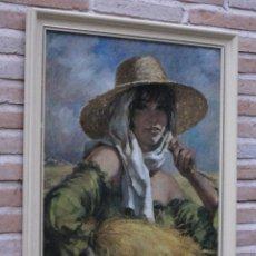 Arte: CUADRO CON LAMINA CROMOLITOGRAFIADA EN CARTONCILLO BARNIZADO. SEGADORA MANCHEGA.. Lote 101067524