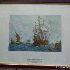 Arte: LAMINA ENMARCADA DE LA MARINA HOLANDESA DEL SIGLO XVII. MUSEO NAVAL. RAFAEL MONLEON. COLECCION DE. Lote 76609511
