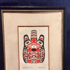 Arte: LAMINA ANTIGUA ENMARCADA BILL REID HAIDA BRITISH COLUMBIA CANADA INDIO BEAVER TSING 1978 38,5X31CMS. Lote 77360481
