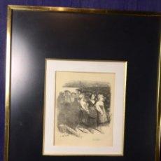Arte: LAMINA A PARTIR DE DIBUJO A. WILLETTE TRES HOMBRES TRES MUJERES CAMINANDO ESTRELLAS 54X43,5CMS . Lote 78042813